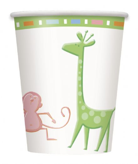 8 Baby Shower Animals Theme Paper Party Cups